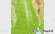 Physical Map of Bago (Pegu)