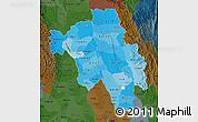 Political Shades Map of Bago (Pegu), darken