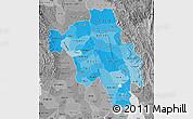 Political Shades Map of Bago (Pegu), desaturated