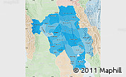 Political Shades Map of Bago (Pegu), lighten