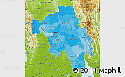 Political Shades Map of Bago (Pegu), physical outside