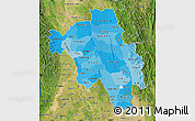 Political Shades Map of Bago (Pegu), satellite outside