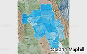 Political Shades Map of Bago (Pegu), semi-desaturated