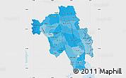 Political Shades Map of Bago (Pegu), single color outside