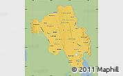 Savanna Style Map of Bago (Pegu), single color outside