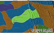 Political 3D Map of Okpo, darken