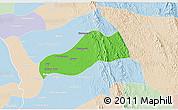 Political 3D Map of Okpo, lighten