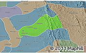 Political 3D Map of Okpo, semi-desaturated