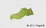 Satellite 3D Map of Okpo, single color outside