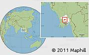 Savanna Style Location Map of Okpo, highlighted parent region