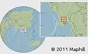 Savanna Style Location Map of Okpo, hill shading
