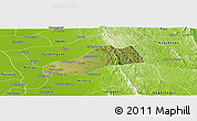 Satellite Panoramic Map of Okpo, physical outside