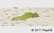 Satellite Panoramic Map of Okpo, shaded relief outside