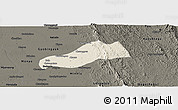Shaded Relief Panoramic Map of Okpo, darken