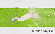 Shaded Relief Panoramic Map of Okpo, physical outside