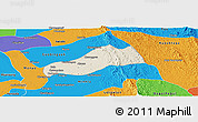 Shaded Relief Panoramic Map of Okpo, political outside