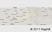 Shaded Relief Panoramic Map of Okpo, semi-desaturated