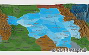 Political Shades Panoramic Map of Bago (Pegu), darken