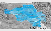 Political Shades Panoramic Map of Bago (Pegu), desaturated