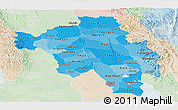 Political Shades Panoramic Map of Bago (Pegu), lighten