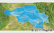 Political Shades Panoramic Map of Bago (Pegu), satellite outside