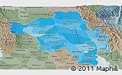 Political Shades Panoramic Map of Bago (Pegu), semi-desaturated