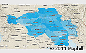 Political Shades Panoramic Map of Bago (Pegu), shaded relief outside
