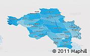 Political Shades Panoramic Map of Bago (Pegu), single color outside