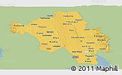 Savanna Style Panoramic Map of Bago (Pegu), single color outside