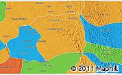 Political 3D Map of Paukkaung