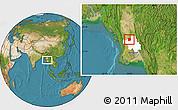 Satellite Location Map of Paukkaung, highlighted parent region