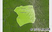 Physical Map of Paukkaung, darken