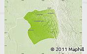 Physical Map of Paukkaung, lighten