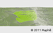 Physical Panoramic Map of Paukkaung, semi-desaturated