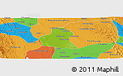 Physical Panoramic Map of Prome, political outside