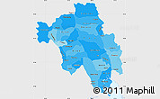 Political Shades Simple Map of Bago (Pegu), single color outside