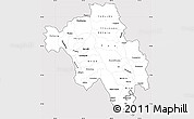 Silver Style Simple Map of Bago (Pegu), cropped outside