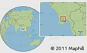 Savanna Style Location Map of Tharrawaddy