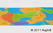 Physical Panoramic Map of Thegon, political outside