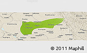 Physical Panoramic Map of Thegon, shaded relief outside