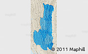 Political Shades Map of Chin, shaded relief outside