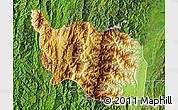 Physical Map of Tonzang, satellite outside