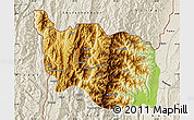 Physical Map of Tonzang, shaded relief outside