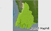 Physical 3D Map of Irrawaddy, darken