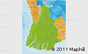 Physical 3D Map of Irrawaddy, political shades outside