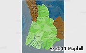 Political Shades 3D Map of Irrawaddy, darken