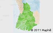 Political Shades 3D Map of Irrawaddy, lighten