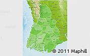 Political Shades 3D Map of Irrawaddy, physical outside