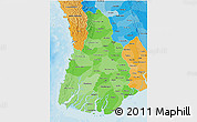 Political Shades 3D Map of Irrawaddy