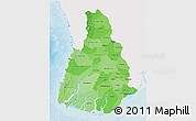 Political Shades 3D Map of Irrawaddy, single color outside